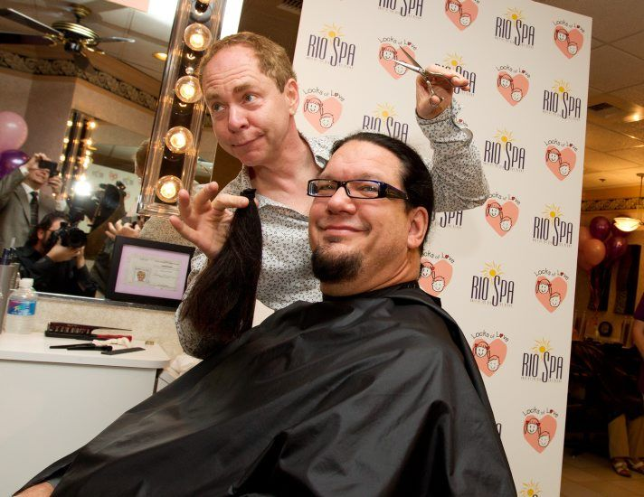 penn Jillette allowed co-star Teller cut off his signature ponytail in a Locks of Love donation event at Rio Spa & Salon in Las Vegas, NV on August 25, 2010