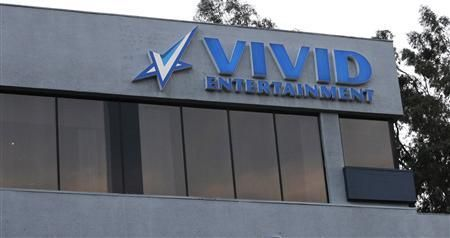 The logo of pornographic film production company Vivid Entertainment Group is seen in Los Angeles