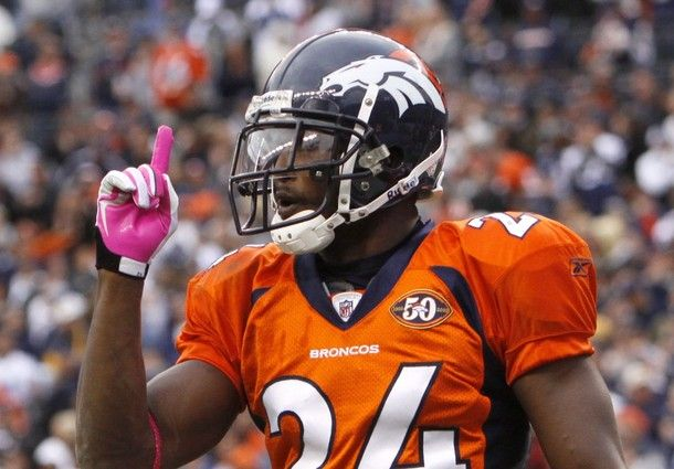Denver Broncos Champ Bailey celebrates breaking up a pass by the Dallas Cowboys in the final seconds of the fourth quarter of their NFL football game in Denver