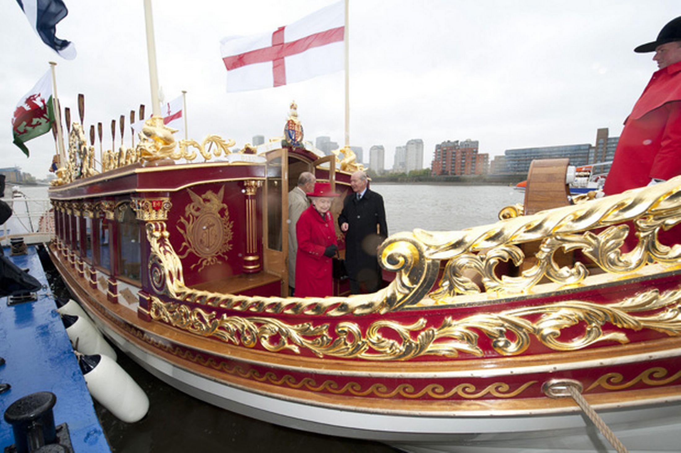 Queen Elizabeth II and Duke of Edinburgh visit Gloriana, the new Royal Row Barge for the first time, at Greenland Pier on the Thames-806510