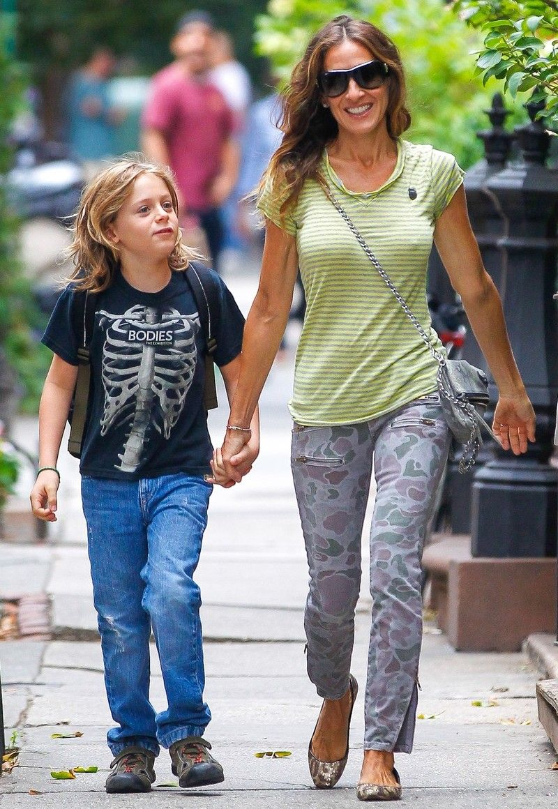SJP NIPS OUT! Sarah Jessica Parker nips out to take her son James to school in New York City