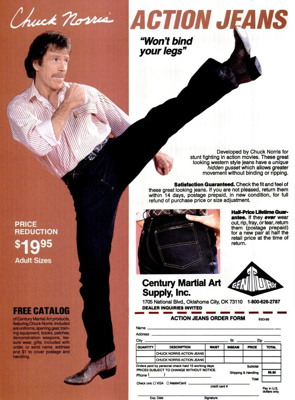7. Chuck Norris Had His Own Line of Jeans